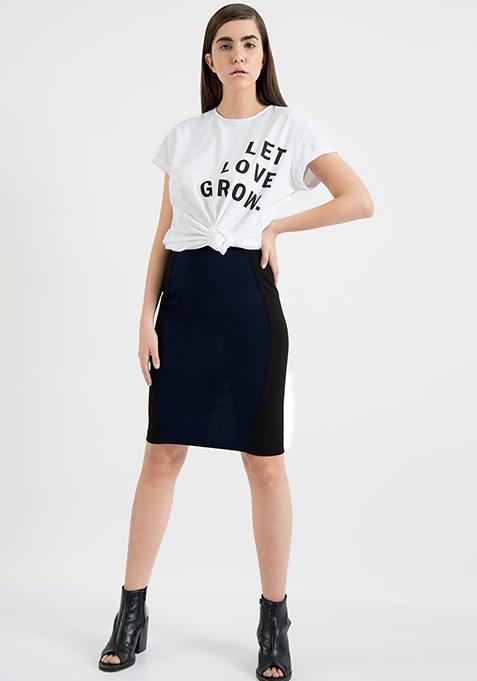 AlliaForFabAlley Panelled Pencil Skirt - Navy