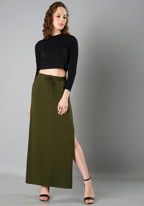 Side Slit Maxi Skirt - Olive
