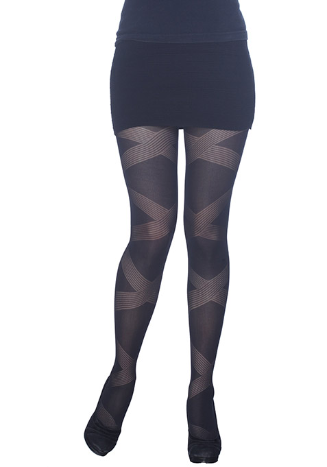 Bandage Pattern Black Stockings