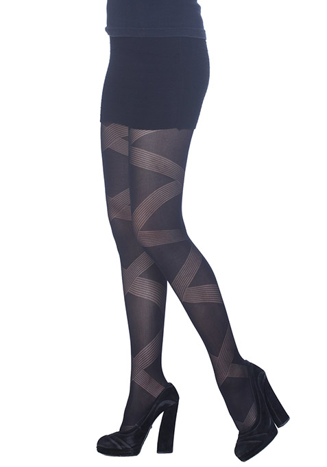 Bandage Pattern Black Stockings