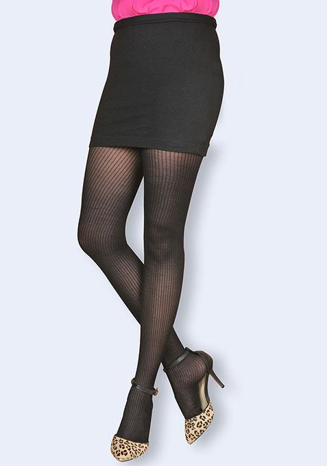Black Ribbed Stockings