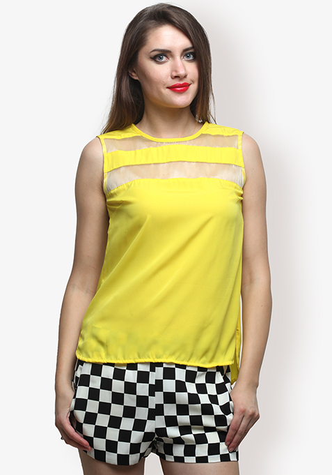 Hot Mesh Blouse Yellow