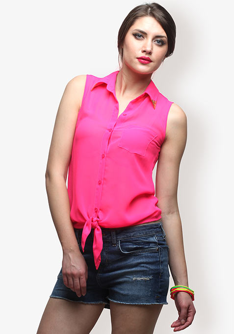 Fuchsia Knotted Love Blouse