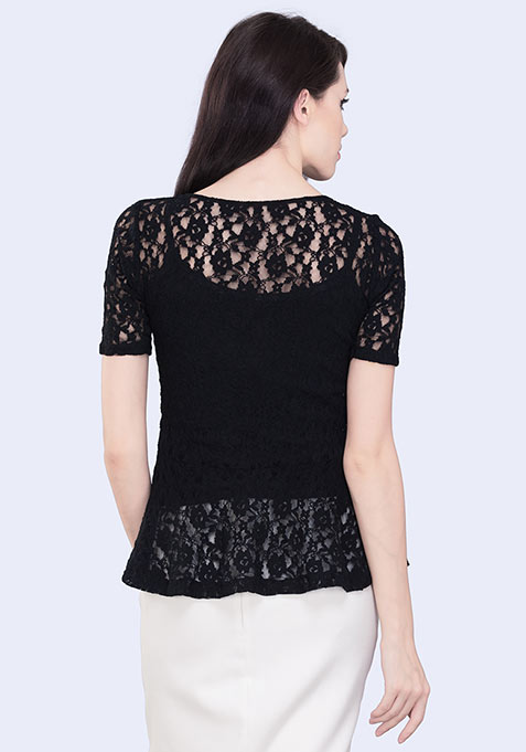 Noir Peplum Top