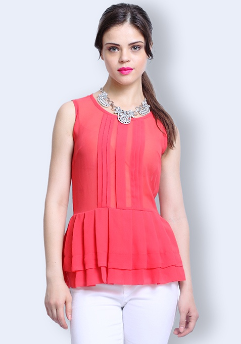 Poised Peplum Top - Coral