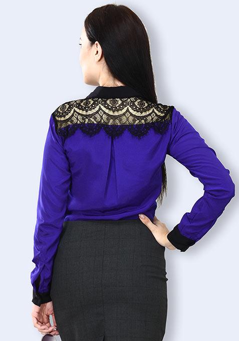 Lace Coven Shirt - Cobalt