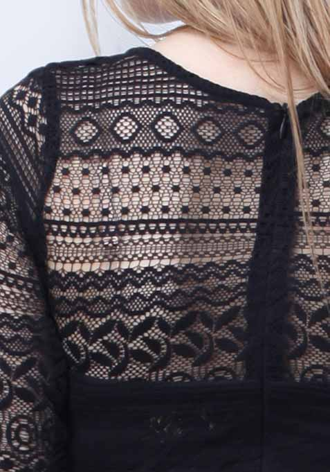 Lace Smitten Top - Black