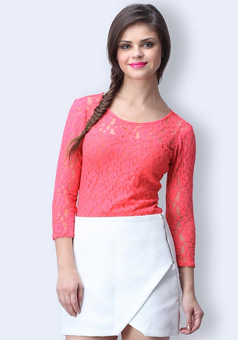 Lace Smitten Top - Coral