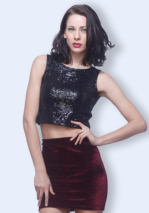 Sequin Drama Crop Top - Black