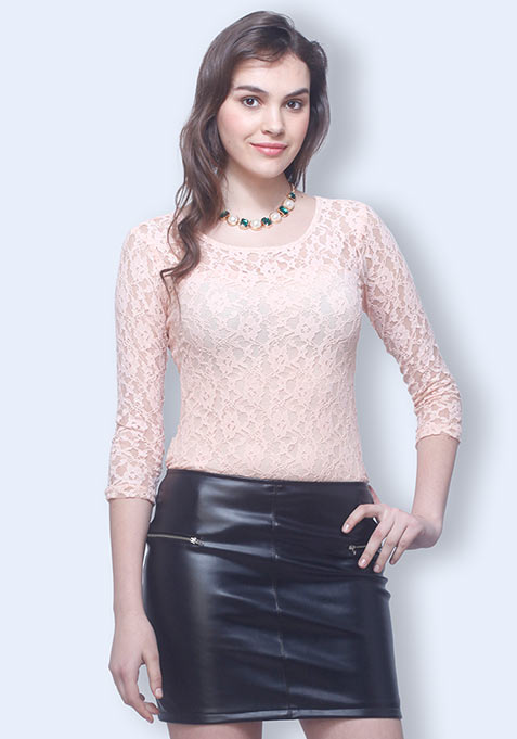 Lace Smitten Top - Nude