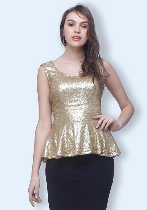 Sizzling Gold Peplum Top