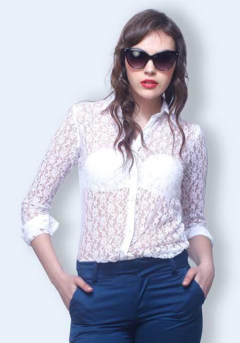 Chic Alert Lace Shirt - White