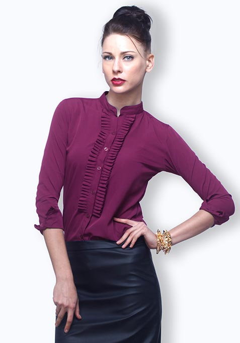 Crisp Pleats Shirt - Violet