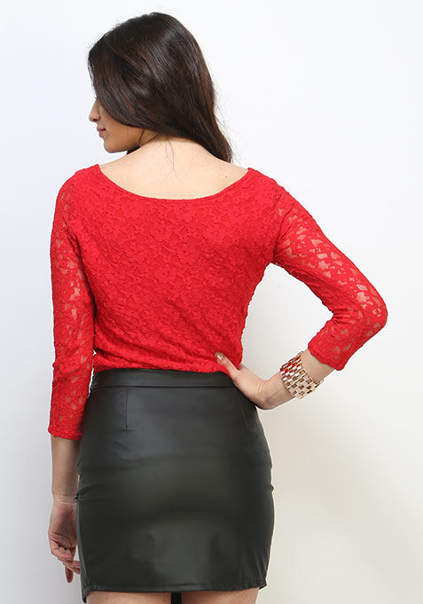 Sweetheart Lace Top - Red