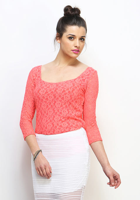 Sweetheart Lace Top - Coral