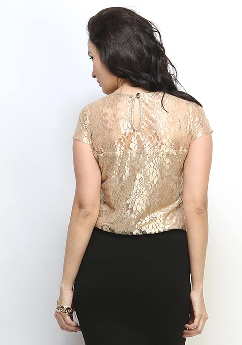 High Shine Lace Blouse - Gold