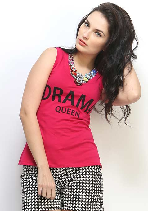 Drama Queen Muscle Tee- Pink