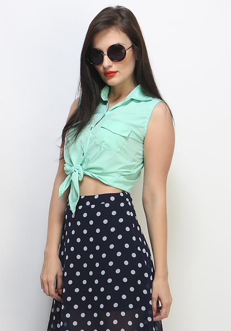 Knotted Summer Crop Top - Mint
