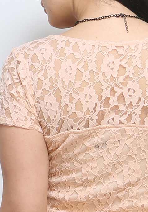 Lace Love Crop Top - Nude