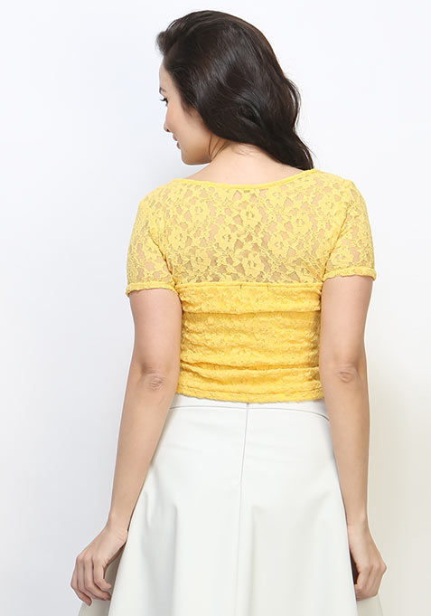 Lace Love Crop Top - Yellow