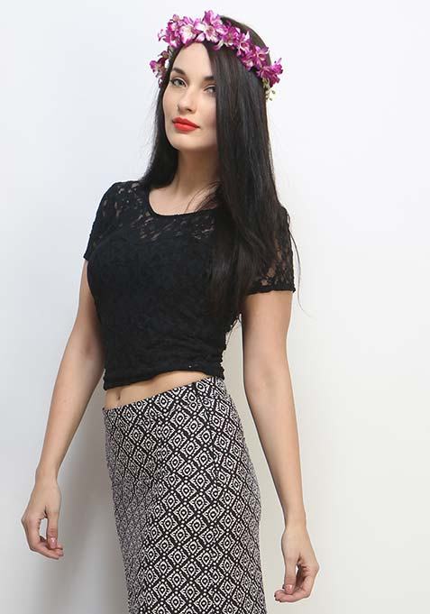 Lace Love Crop Top - Black