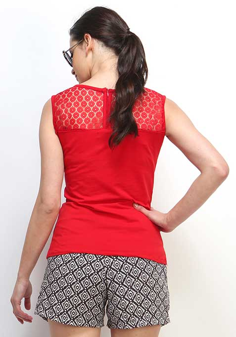 Laced Up Top - Crimson