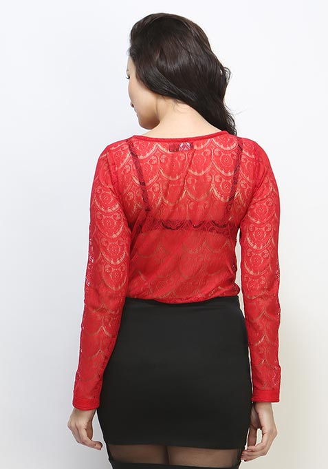 Wander Lace Blouse - Red