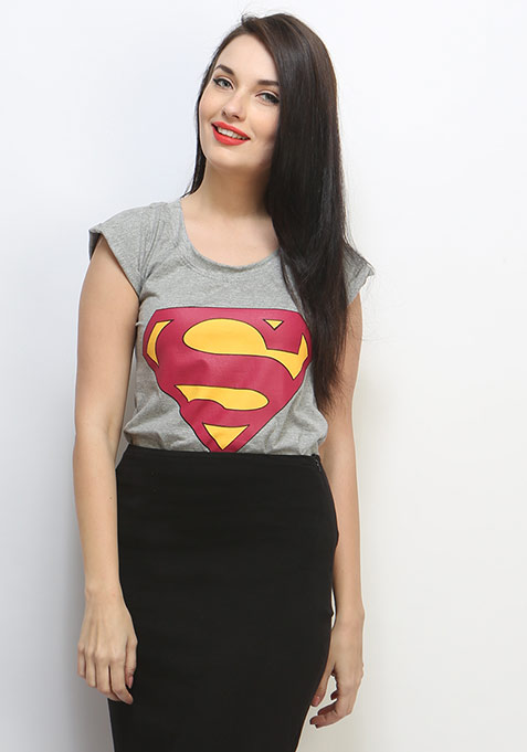 Super Girl Tee - Grey