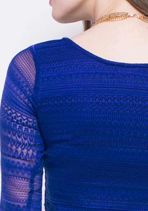 Lace Escape Crop Top - Blue