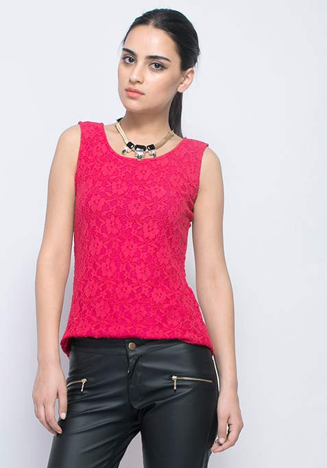 Love Back Lace Tank - Pink