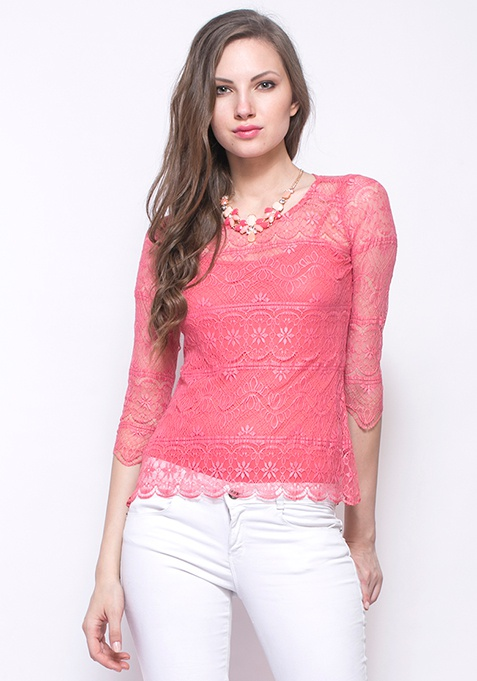 Sheer Game Lace Top - Coral