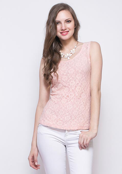 Love Back Lace Tank - Nude