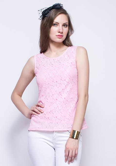 Blush Lace Shell Top