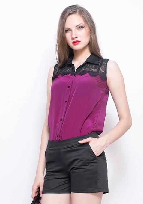 Lace Bite Shirt - Purple