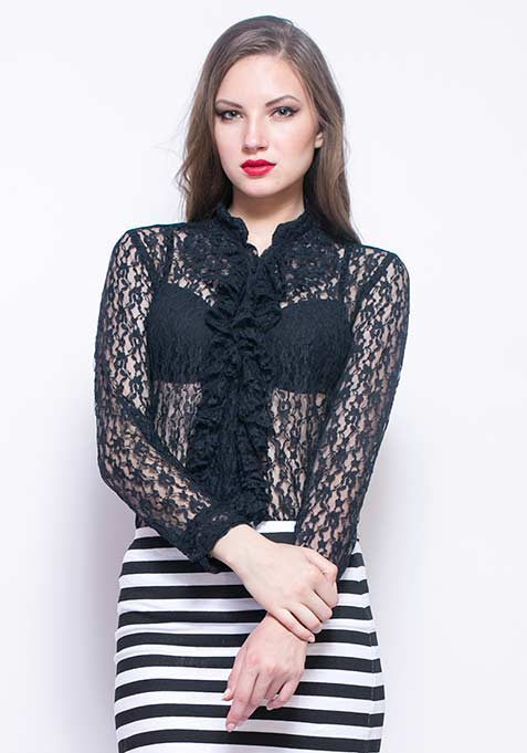 Lace Case Shirt - Black