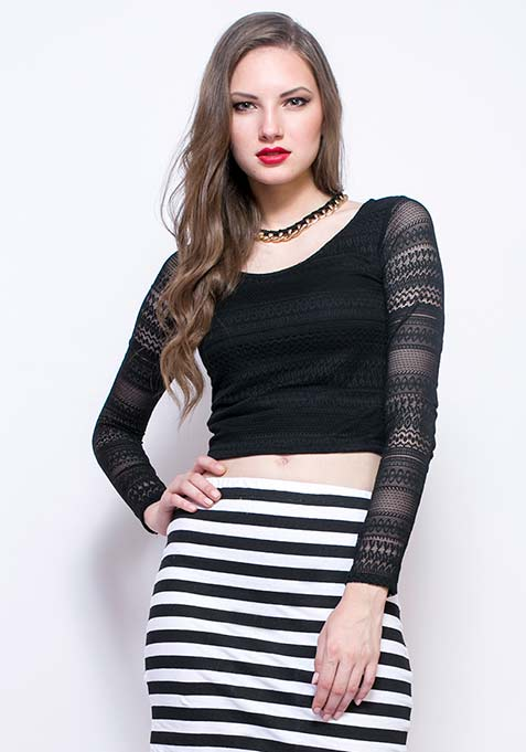 Lace Escape Crop Top - Black