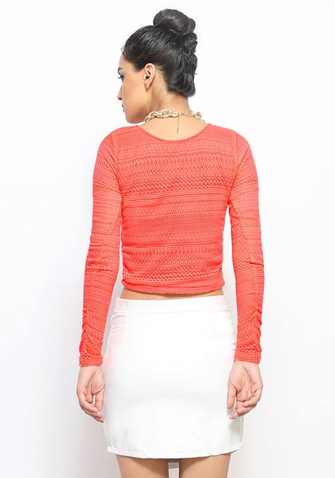 Naughty Lace Crop Top - Coral