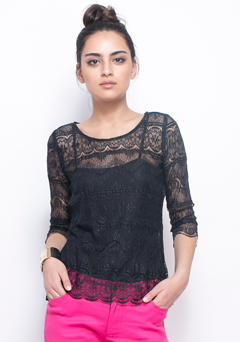 Sheer Game Lace Top - Black