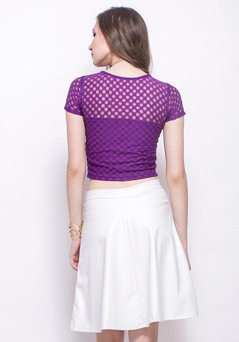 Sphere Lace Crop Top - Purple