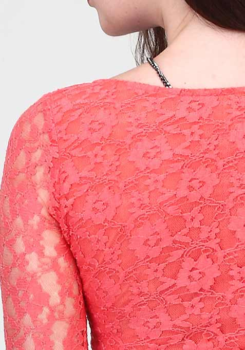 Crossed Out Lace Top - Coral