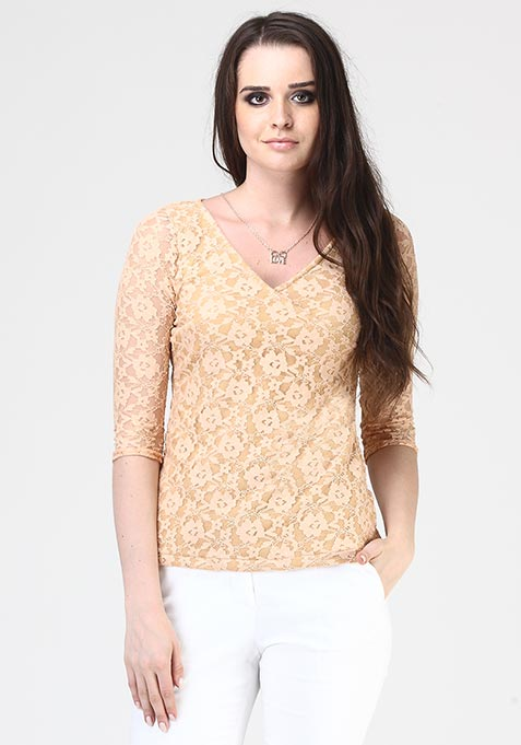 Crossed Out Lace Top - Beige