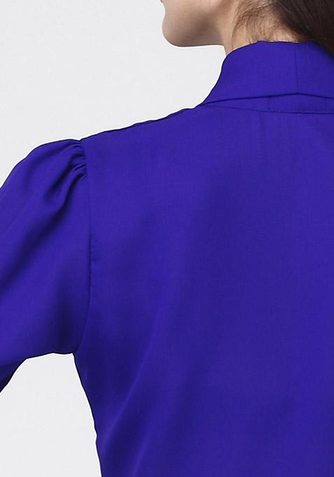 Blazing Blue Pussybow Shirt