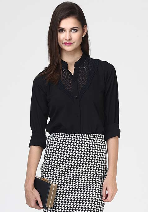 Lace Amuse Shirt - Black