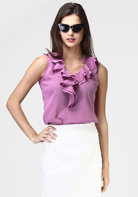 Ruffle Riffle Blouse - Purple