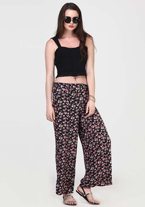 Lace Step Crop Top - Black