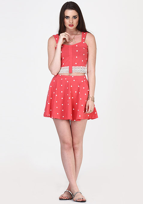 Lace Step Crop Top - Coral