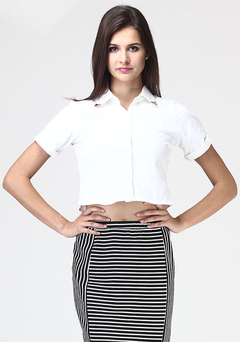 White Float Crop Shirt