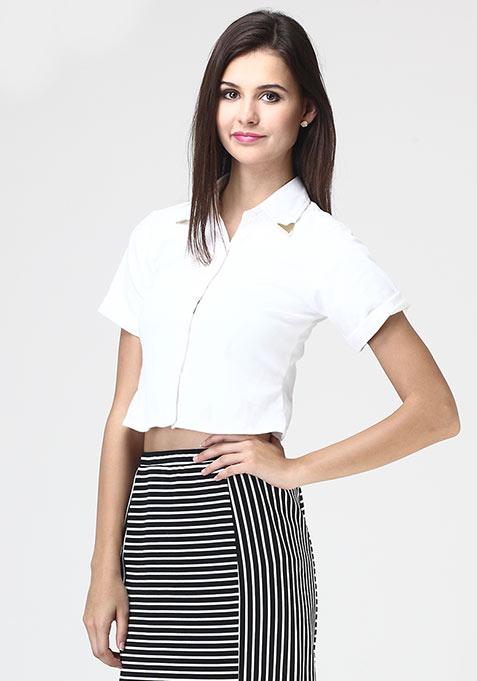 White Float Crop Shirt