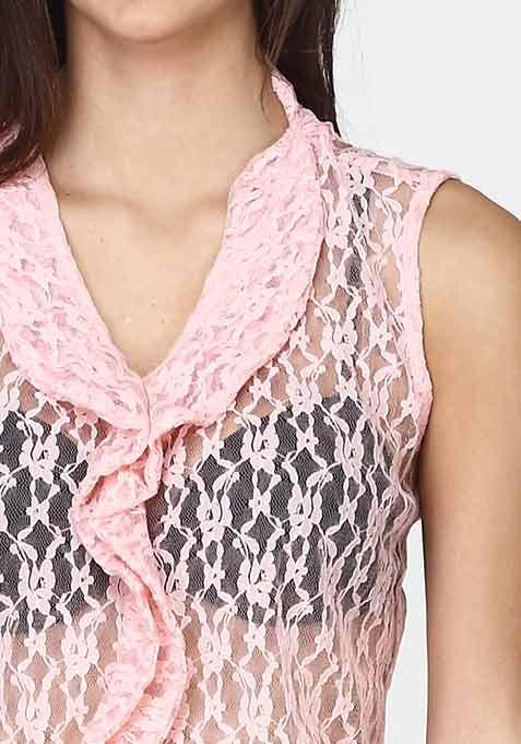 Lace Ruffles Top - Blush