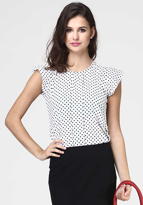 Just Chic Polka Blouse - White